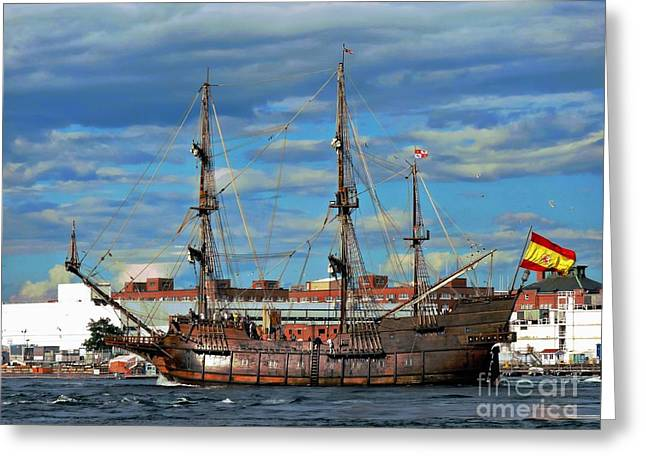 Tall Ship Greeting Cards - El Galeon Andalucia Greeting Card by Marcia Lee Jones