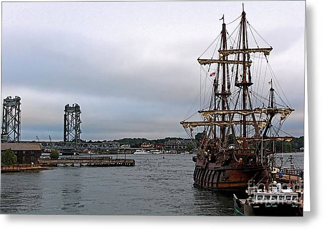 Beach At Night Digital Greeting Cards - El Galeon Andalucia Tall Ship at the Fishing Pier Painting Greeting Card by Devin LaBrie
