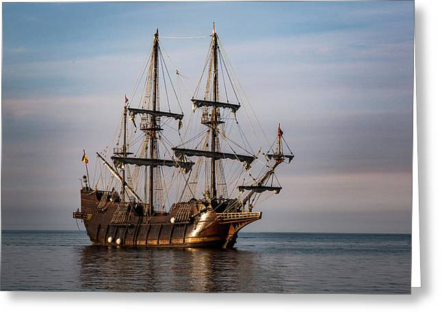 El Galeon Andalucia Tall Ship Greeting Card by Dale Kincaid