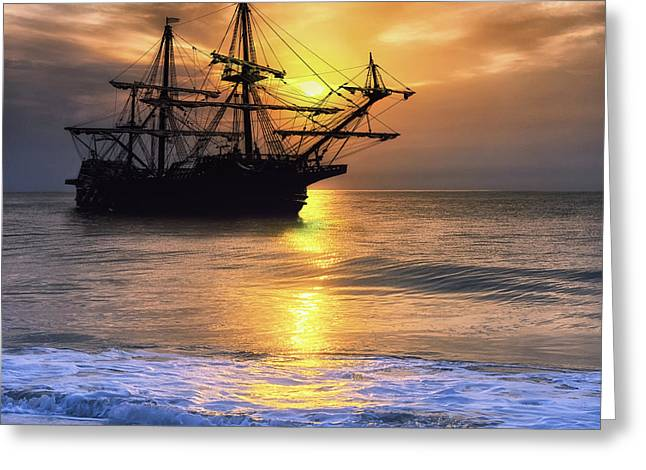 Surf City Greeting Cards - El Galeon Sailing Greeting Card by Larry Helms