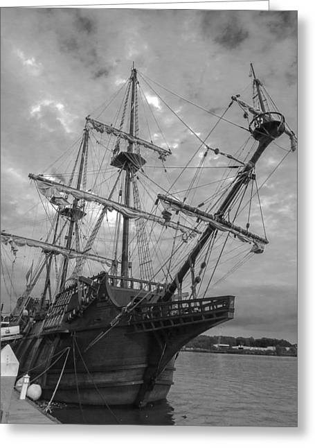 Wooden Ship Greeting Cards - El Galeon San Palayo Black and White Greeting Card by Jamie Anderson