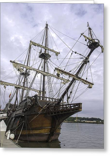 Wooden Ship Greeting Cards - El Galleon San Pelayo Greeting Card by Jamie Anderson