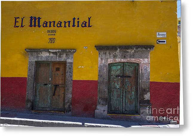 Bar San Miguel Greeting Cards - El Mananlial  Greeting Card by Amy Fearn