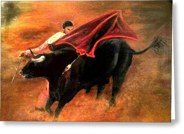 Mexican Fighters Greeting Cards - El Matador Greeting Card by Staci Smith