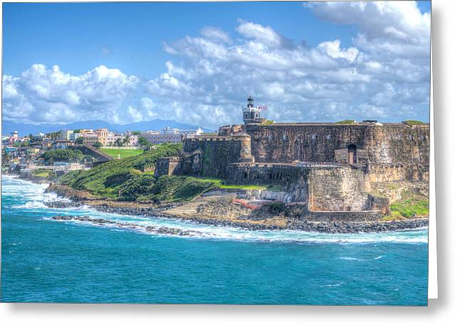 Castillo San Felipe Greeting Cards - El Morro Fortress  Greeting Card by John Trax