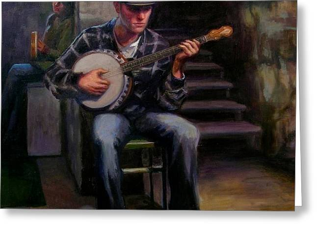 Basement Art Greeting Cards - El Musico Greeting Card by Lydia Martin