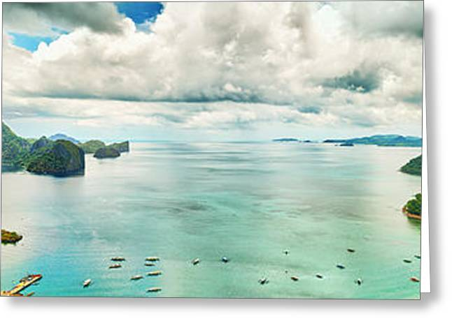Ocean Panorama Greeting Cards - El Nido bay Greeting Card by MotHaiBaPhoto Prints