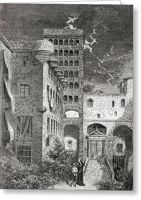 Barcelona Drawings Greeting Cards - El Palacio De La Inquisici Greeting Card by Ken Welsh