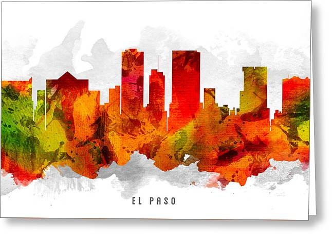 El Greeting Cards - El Paso Texas Cityscape 15 Greeting Card by Aged Pixel