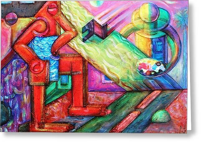 Artes Plasticas Greeting Cards - El pintor de las mujeres soles Greeting Card by Iran Plata