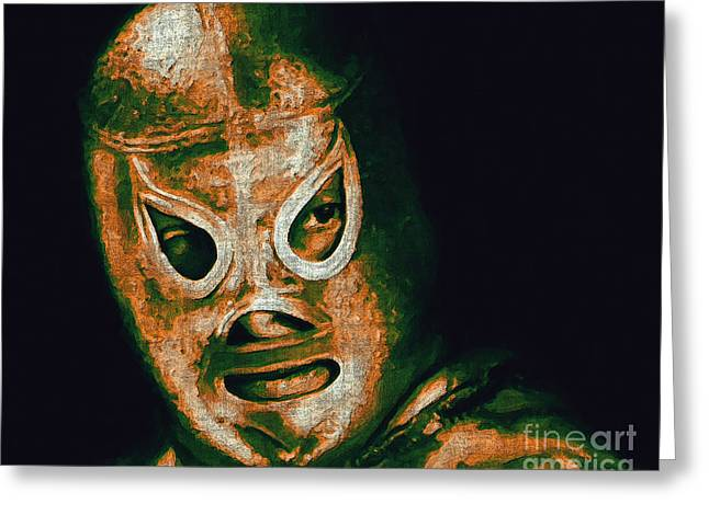 Wwf Greeting Cards - El Santo The Masked Wrestler 20130218 Greeting Card by Wingsdomain Art and Photography