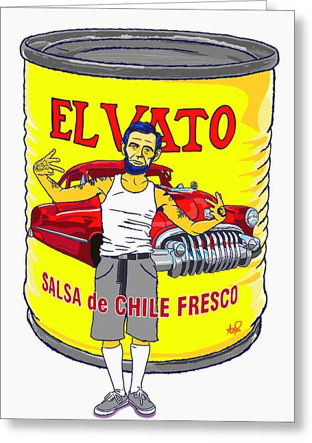Vato Greeting Cards - El Vato II Greeting Card by Armando Padilla