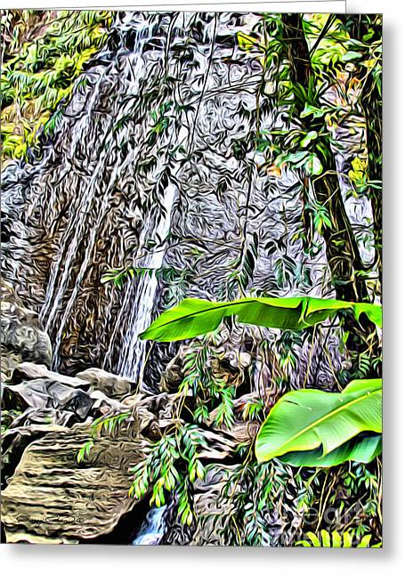 El Yuque Waterfall Greeting Card by Carey Chen