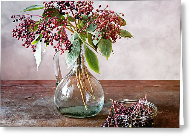 Beverage Greeting Cards - Elderberries 07 Greeting Card by Nailia Schwarz