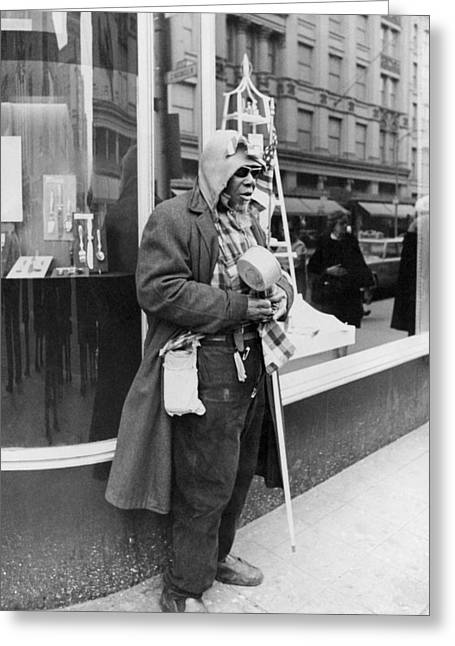 Disability Greeting Cards - Elderly Blind Man Beggar Greeting Card by Underwood Archives