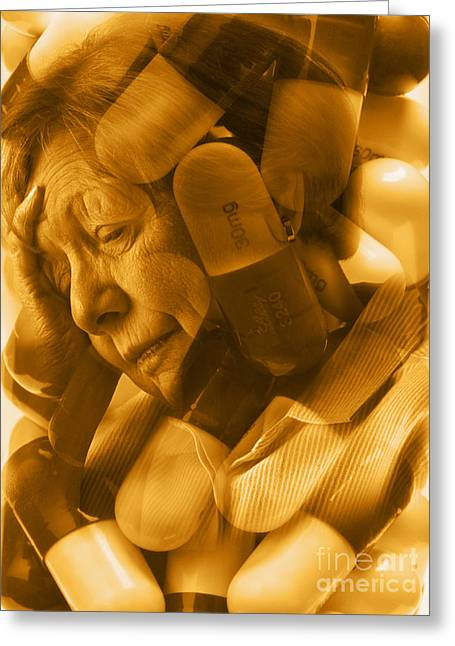 Withdrawal Greeting Cards - Elderly Drug Use Greeting Card by George Mattei