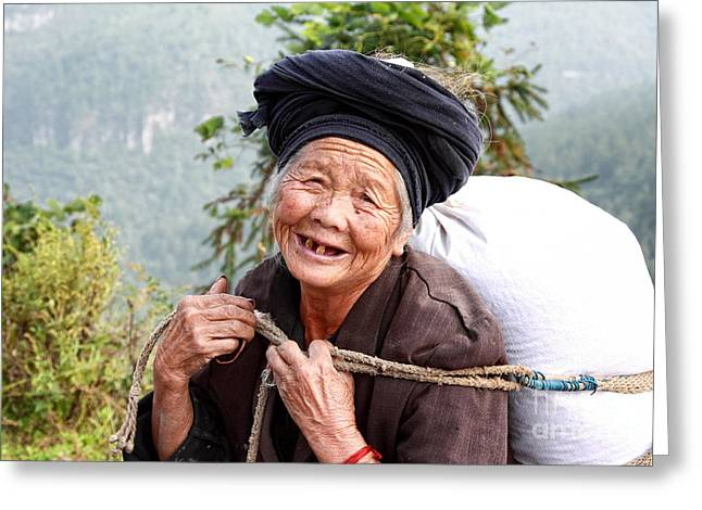 Mountain Road Greeting Cards - Elderly Miao Woman on Mountain Road Greeting Card by Charline Xia