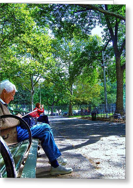 Washington Square Park Greeting Cards - Elderly Woman Reading in Washington Square Park Greeting Card by Randy Aveille
