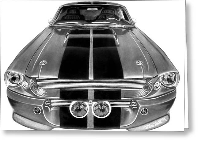 Charcoal Car Greeting Cards - Eleanor Ford Mustang Greeting Card by Peter Piatt