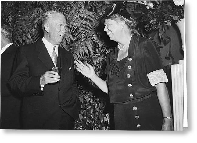 Eleanor Roosevelt And Marshall Greeting Card by Underwood Archives