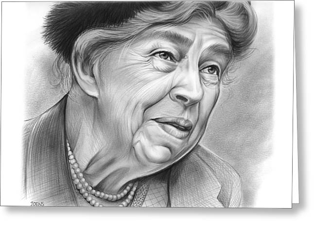First Lady Drawings Greeting Cards - Eleanor Roosevelt Greeting Card by Greg Joens
