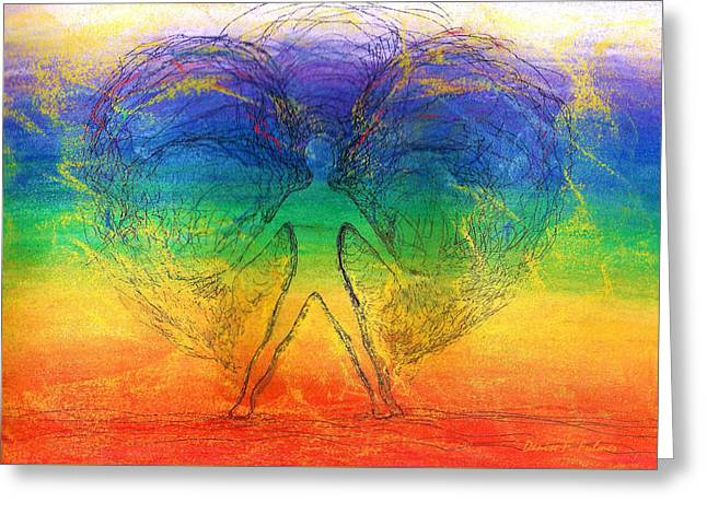 Chakra Rainbow Greeting Cards - Electric Angel Greeting Card by Denise Fulmer