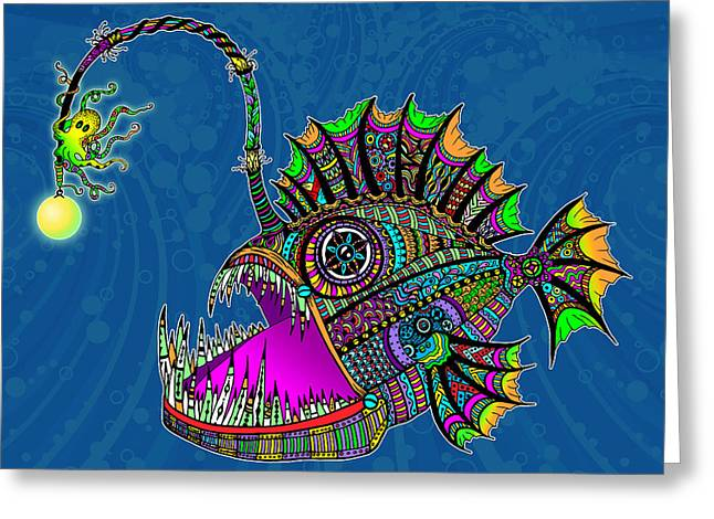 Hand Drawn Greeting Cards - Electric Angler Fish Greeting Card by Tammy Wetzel