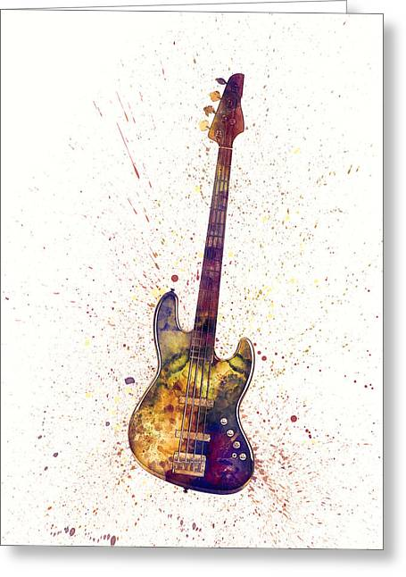 String Art Greeting Card featuring the digital art Electric Bass Guitar Abstract Watercolor by Michael Tompsett