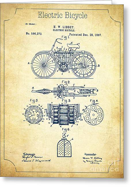 Spokes Drawings Greeting Cards - Electric bicycle patent US596272 A Greeting Card by Evgeni Nedelchev