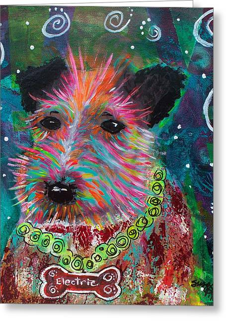 Puppies Mixed Media Greeting Cards - Electric Canine Greeting Card by Suzanne Allen