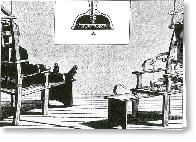 Electrocution Greeting Cards - Electric Chair, 1890 Greeting Card by Science Source