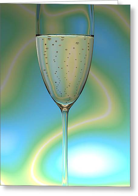 Champagne Glasses Greeting Cards - Electric Champagne Greeting Card by Nathan Ryan