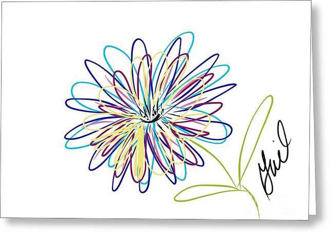Floral Digital Drawings Greeting Cards - Electric Dahlias Greeting Card by Gail Nandlal