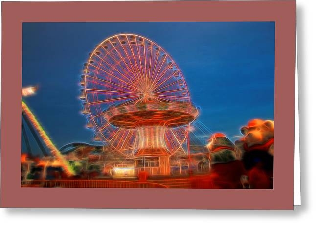 Amusements Greeting Cards - Electric Ferris Wheel Greeting Card by Allen Beatty