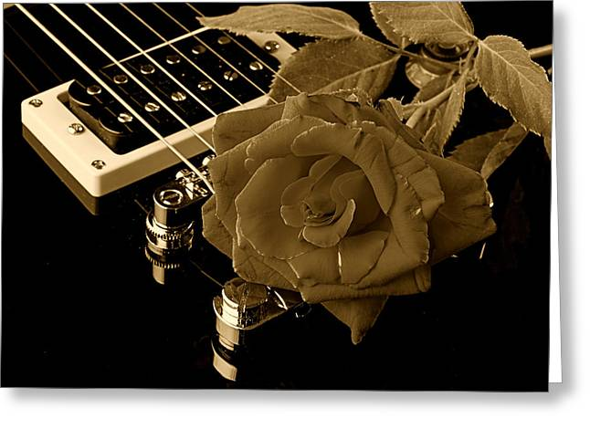 Mac K Miller Greeting Cards - Electric Guitar and Rose Greeting Card by M K  Miller