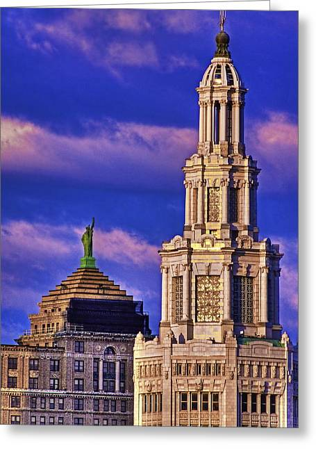 Liberty Building Greeting Cards - Electric Liberty Greeting Card by Don Nieman
