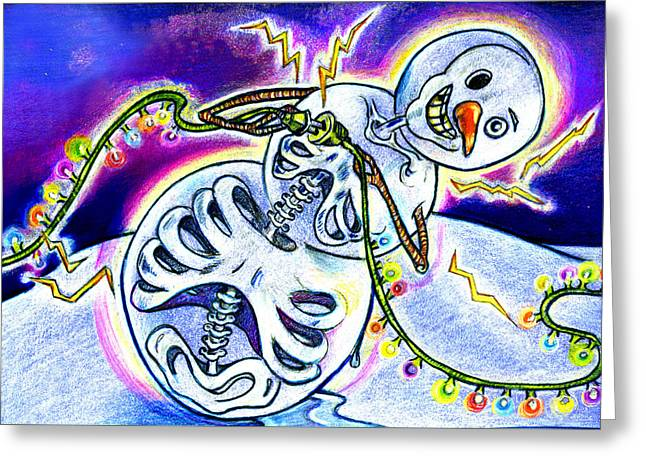 Christmas Art Greeting Cards - Electric Lights On Strings Greeting Card by Nada Meeks