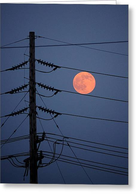 Eerie Greeting Cards - Electric Moon Greeting Card by Richard Reeve
