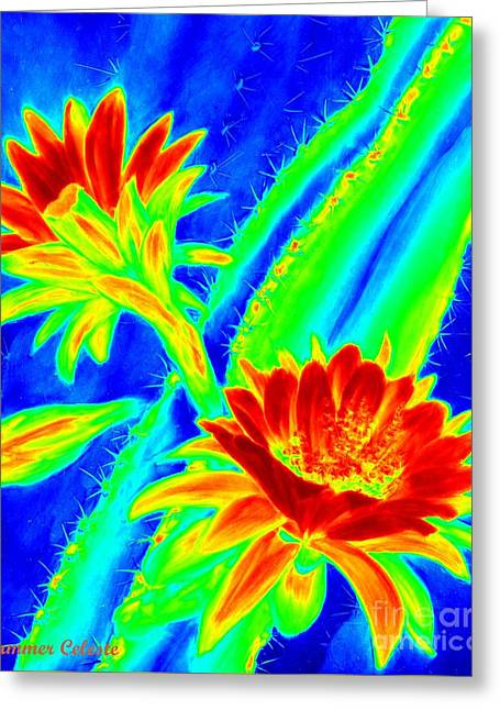 Electric Night Bloomer  Greeting Card by Summer Celeste