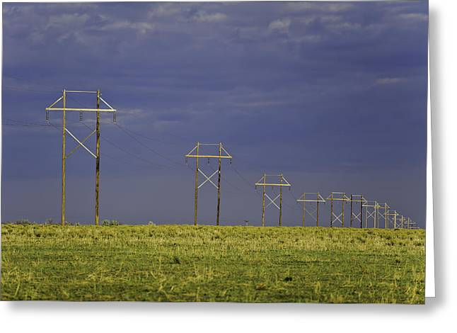 Rural Digital Art Greeting Cards - Electric Pasture Greeting Card by Melany Sarafis