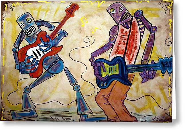 Guitar Player Mixed Media Greeting Cards - Electric Robots Greeting Card by Laura Barbosa