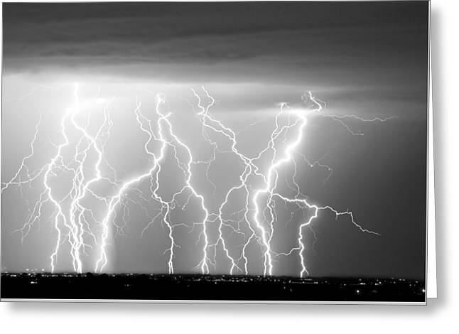 Electric Skies In Black And White Greeting Card by James BO  Insogna