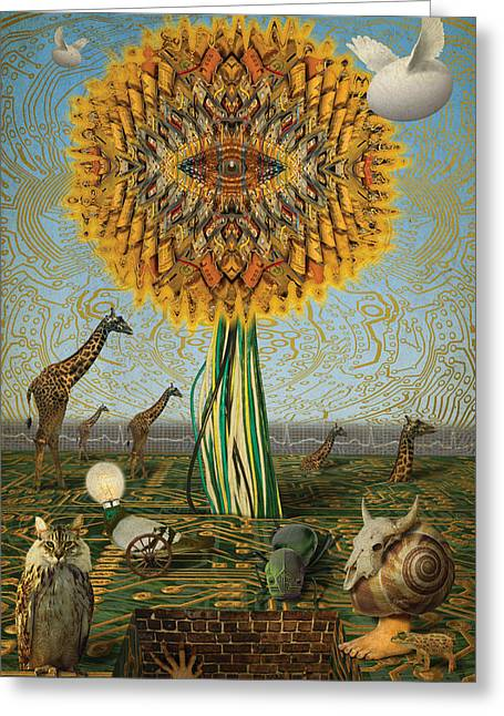 Flying Frog Greeting Cards - Electric Sunflower Greeting Card by Bill Jonas