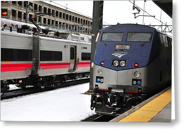 Union Connecticut Greeting Cards - Electric Trains at Union Station Greeting Card by Mike Martin
