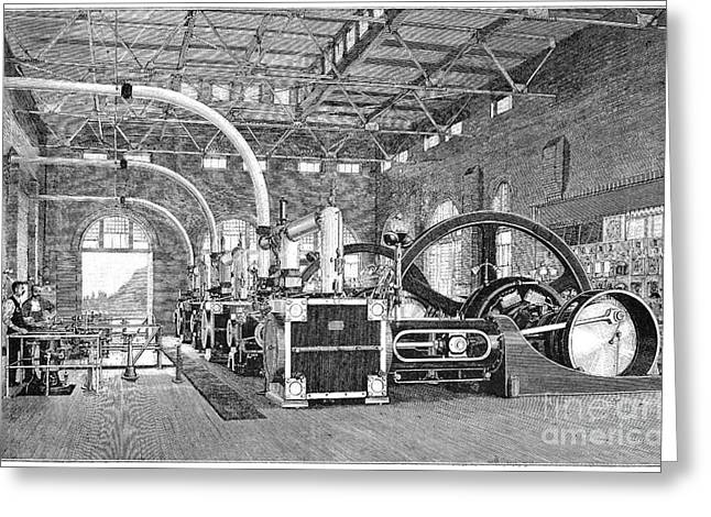 Dynamos Photographs Greeting Cards - Electric Tramway Generator, 19th Century Greeting Card by Spl