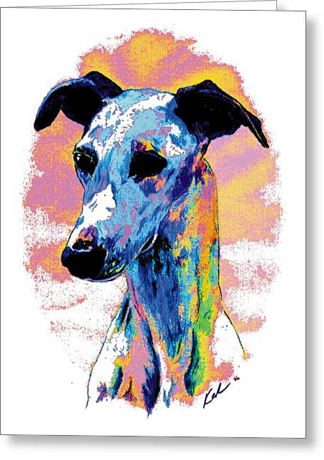Sight Hound Greeting Cards - Electric Whippet Greeting Card by Kathleen Sepulveda