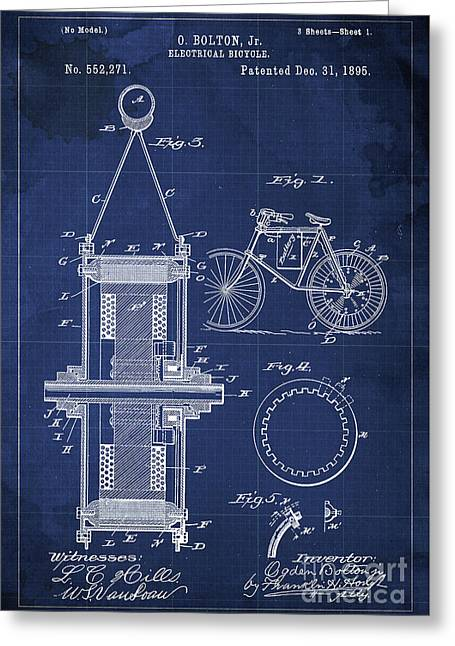 Electrical Bycicle Patent Blueprint Year 1895 Blue Vintage Decoration Greeting Card by Pablo Franchi