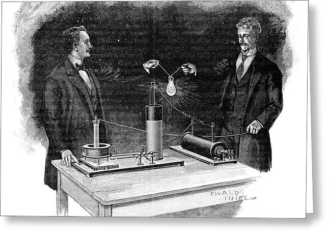 Demonstrator Greeting Cards - Electrical Experiment, Early 20th Greeting Card by Spl