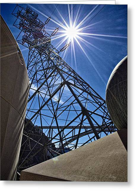 Power Plants Greeting Cards - Electrical Sunburst Greeting Card by Peter Hogg