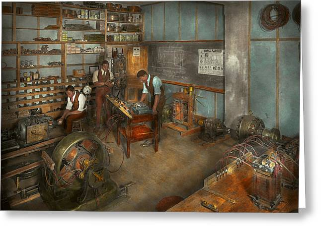 Electricians Greeting Cards - Electrician - The Electrical Engineering course - 1915 Greeting Card by Mike Savad